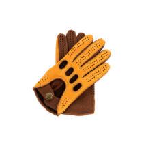 Men's deerskin leather driving gloves COGNAK-WALNUT