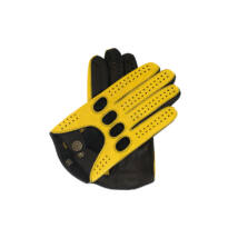 Men's Hairsheep Leather Driving Gloves YELLOW-BLACK