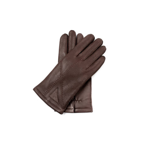 Men's deerskin leather gloves lined with wool BROWN