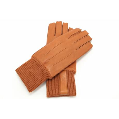Men's deerskin leather gloves lined with rabbit fur