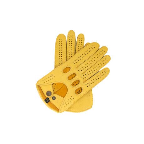 Men's deerskin leather driving gloves GOLD