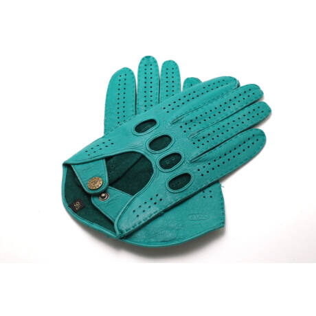 Men's deerskin leather driving gloves SILVER GREEN
