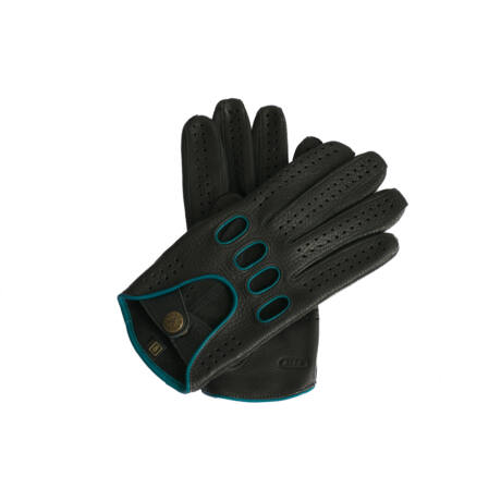 Men's deerskin leather driving gloves BLACK(BLUE)