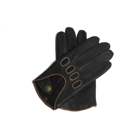 Men's deerskin leather driving gloves BLACK(BROWN)