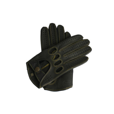 Men's deerskin leather driving gloves BLACK(GOLD)