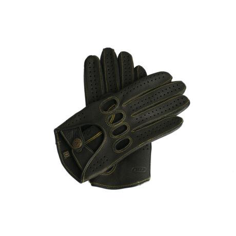 Men's deerskin leather driving gloves BLACK(GOLD)