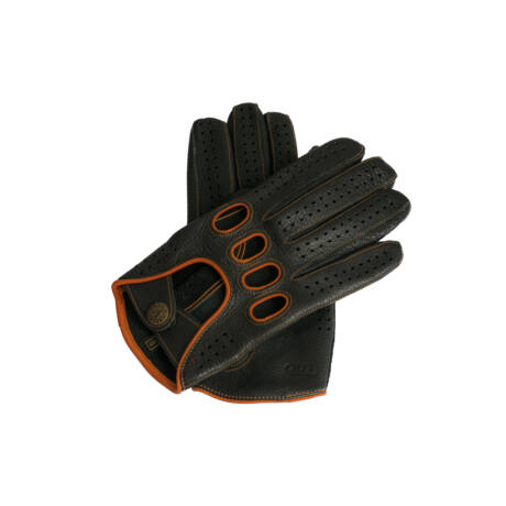 Men's deerskin leather driving gloves BLACK(ORANGE)