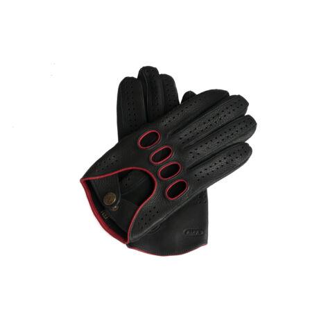 Men's deerskin leather driving gloves BLACK(RED)