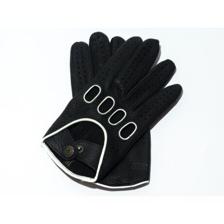 Men's deerskin leather driving gloves BLACK(WHITE)