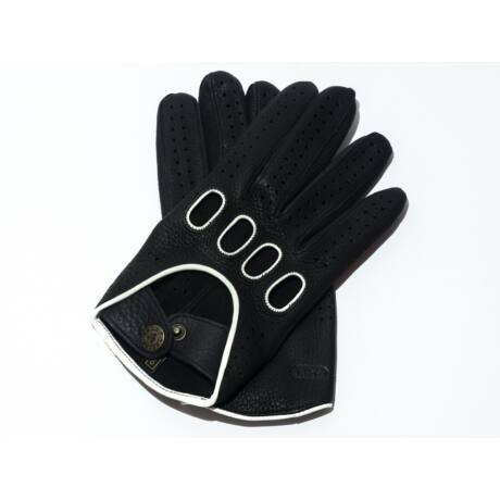 Men's deerskin leather driving gloves BLACK(WHITE)