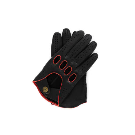 Men's deerskin leather driving gloves BLACK(ORANGE)