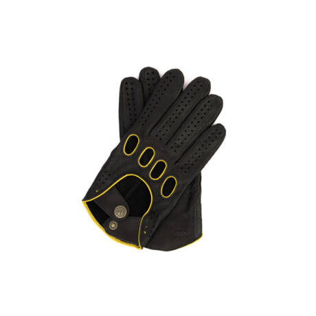 Men's deerskin leather driving gloves BLACK(YELLOW)
