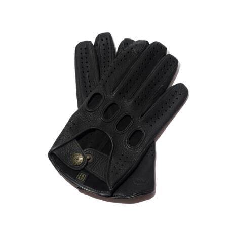 Men's deerskin leather driving gloves BLACK