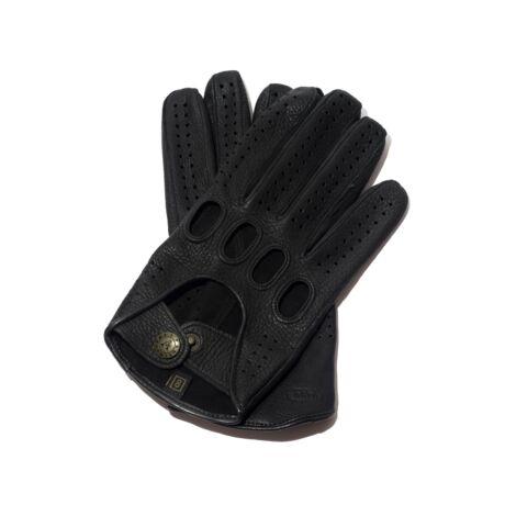 Men's deerskin leather driving gloves BLACK