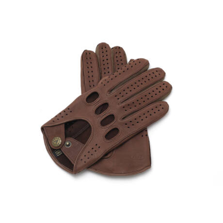 Men's deerskin leather driving gloves BROWN