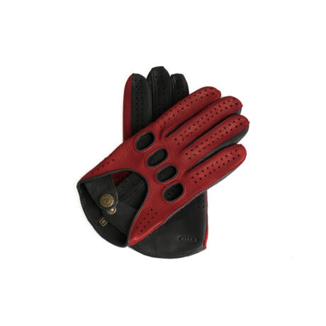 Men's deerskin leather driving gloves RED-BLACK