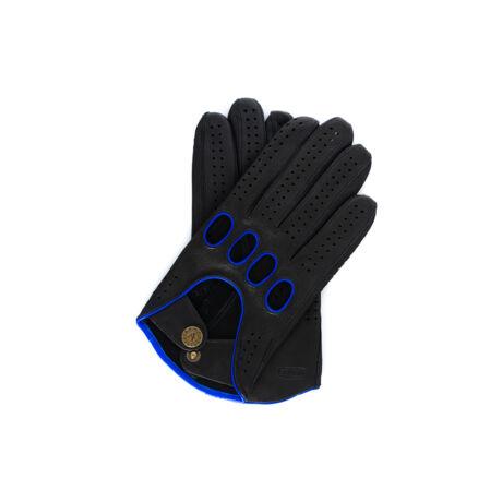 Men's deerskin leather driving gloves BLACK(BLUE)