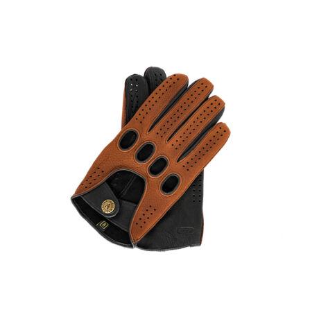 Men's deerskin leather driving gloves BROWN-BLACK