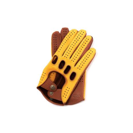 Men's deerskin leather driving gloves GOLD-WALNUT
