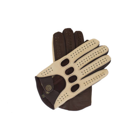 Men's Hairsheep Leather Driving Gloves BEIGE-BROWN