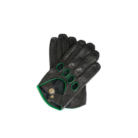 Men's Hairsheep Leather Driving Gloves BLACK(GREEN)