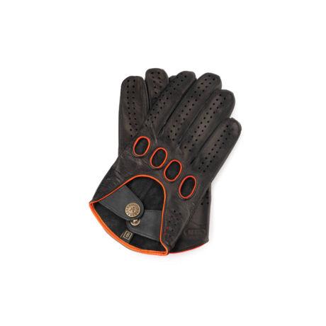 Men's Hairsheep Leather Driving Gloves BLACK(ORANGE)