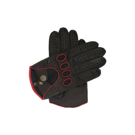 Men's Hairsheep Leather Driving Gloves BLACK(RED)