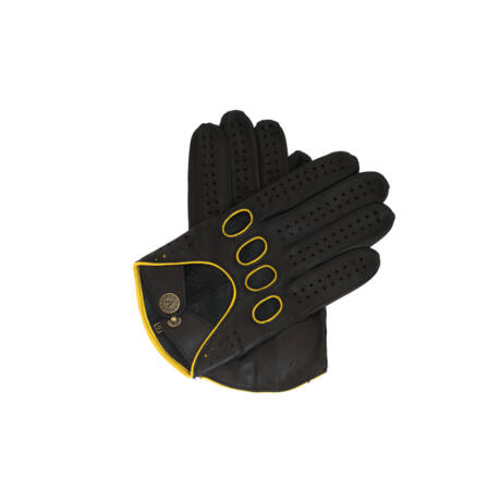 Men's Hairsheep Leather Driving Gloves BLACK(YELLOW)
