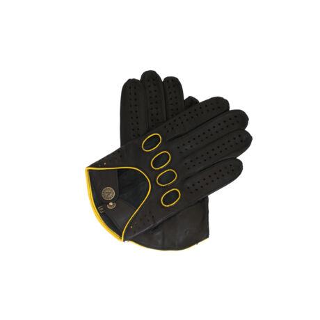 Men's Hairsheep Leather Driving Gloves BLACK(YELLOW)