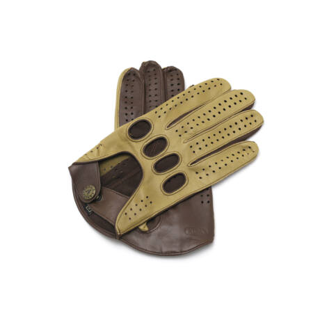 Men's hairsheep leather driving gloves DESERT-BROWN