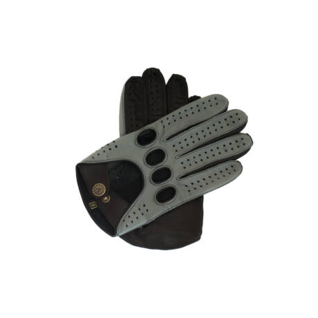 Men's Hairsheep Leather Driving Gloves GRAY-BLACK