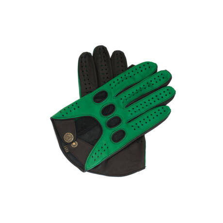 Men's Hairsheep Leather Driving Gloves GREEN-BLACK