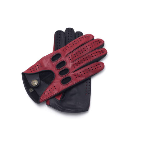 Men's hairsheep leather driving gloves RED-BLACK