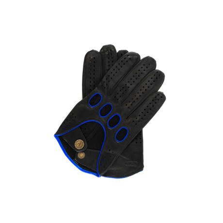 Men's Hairsheep Leather Driving Gloves BLACK(BLUE)