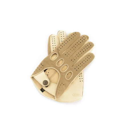 Men's suede-nappa leather driving gloves BEIGE