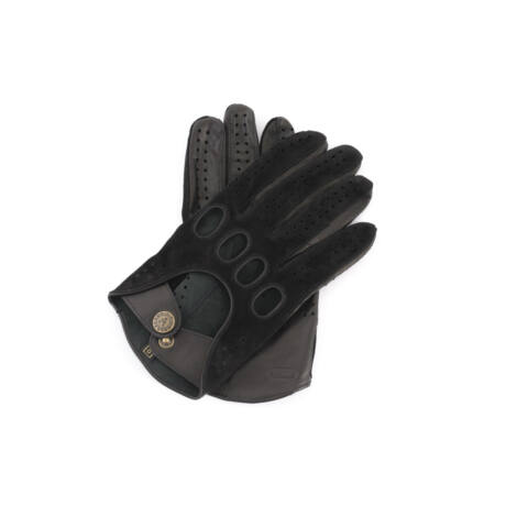 Men's suede-nappa leather driving gloves BLACK