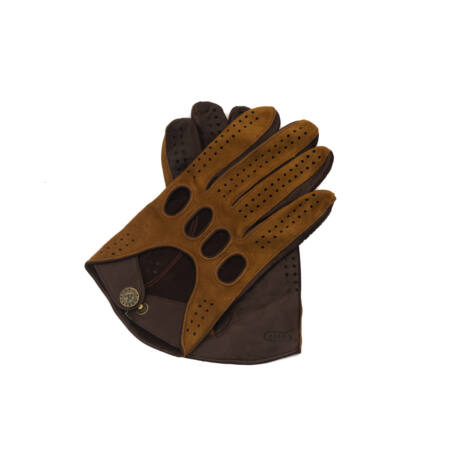 Men's suede-nappa leather driving gloves COGNAK