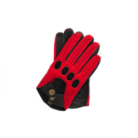 Men's suede-nappa leather driving gloves RED-BLACK