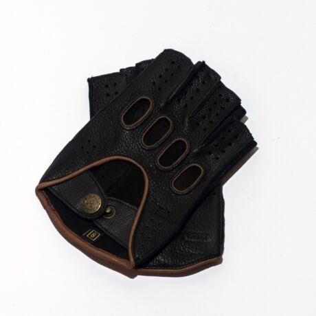 Men's deerskin leather fingerless gloves BLACK(BROWN)