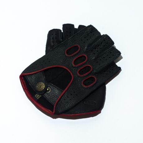 Men's deerskin leather fingerless gloves BLACK(RED)