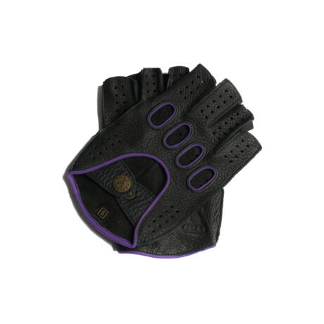 Men's deerskin leather fingerless gloves BLACK(VIOLET)