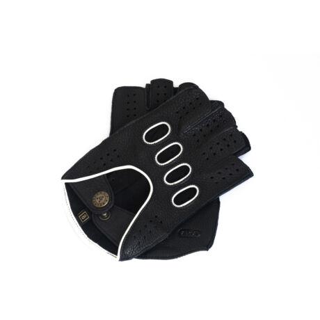Men's deerskin leather fingerless gloves BLACK(WHITE)