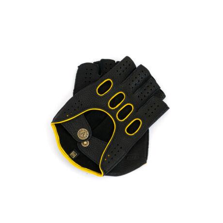 Men's deerskin leather fingerless gloves BLACK(YELLOW)
