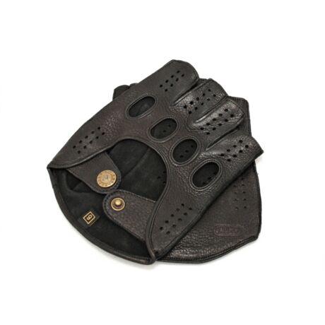 Men's deerskin leather fingerless gloves BLACK
