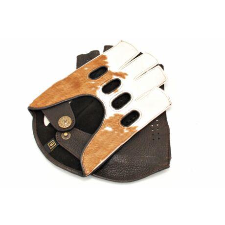 Men's deerskin leather fingerless gloves COW-BROWN