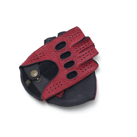 Men's deerskin leather fingerless gloves RED-BLACK