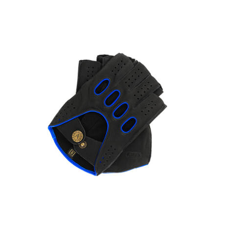 Men's deerskin leather fingerless gloves BLACK(BLUE)