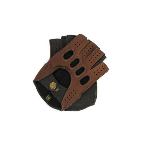 Men's deerskin leather fingerless gloves BROWN-BLACK