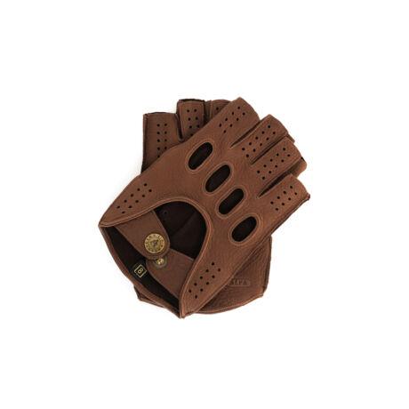 Men's deerskin leather fingerless gloves BROWN