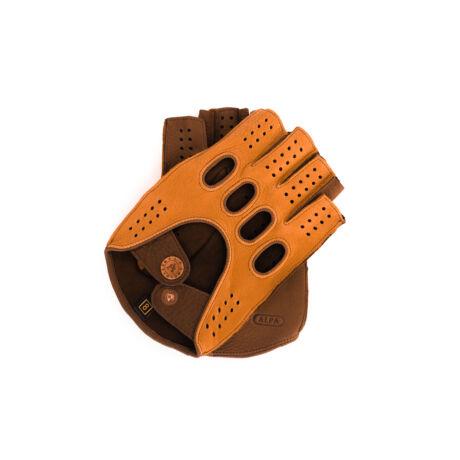 Men's deerskin leather fingerless gloves COGNAK-WALNUT
